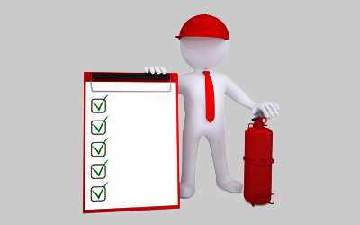 fire alarms risk assessment with cartoon man